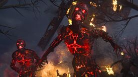 A screenshot from Call Of Duty: Vanguard's zombies mode, in which a glowing red undead is screaming.