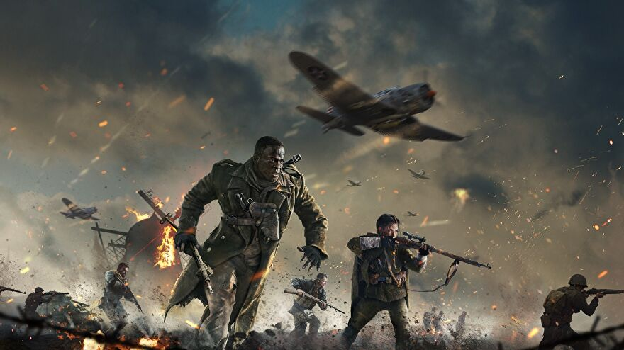 Call of Duty: Vanguard - Artwork of several soldiers running across a battlefield with planes flying overhead.