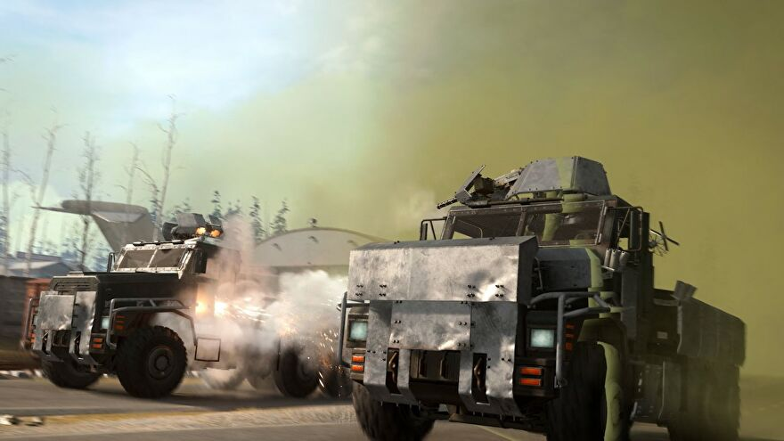 An image of two armoured trucks in Warzone escaping from the poison gas. They're side-by-side, firing at one another too.