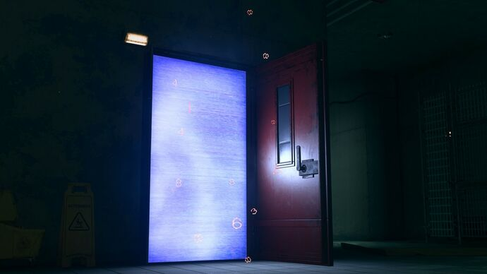 A magic Red Door from Warzone Season 4, which is wide open and has an entrance that glows a shimmering blue.