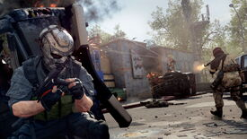 An image from Call Of Duty: Warzone and Black Ops Cold War's Season 4 Reloaded update, which shows a masked operator ducking for cover behind an overturned vehicle as a firefight breaks out.