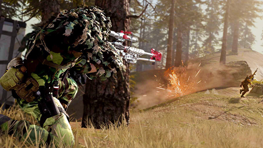A player in Call Of Duty Warzone wearing camouflage and shooting their sniper rifle at somebody in front of them