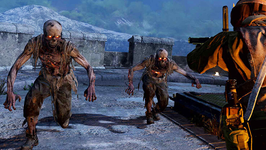 Two zombie in Call Of Duty: Warzone running towards a player that's pointing their gun at the zombies