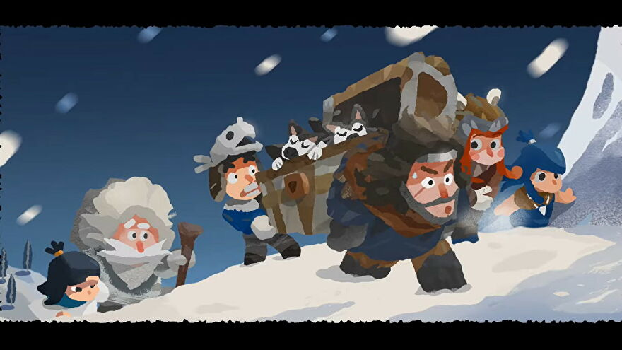 A group of hooded villagers rush through a snowy wilderness carrying a chest of sleeping husky pups in Carto