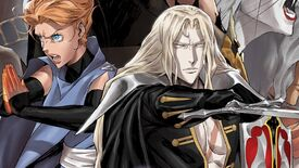 Castlevania season 4 poster - Alucard holds a sword and shield in a character ensemble image beside Sypha.