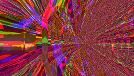 A screenshot of Catacombs Of Solaris, depicting red, green and yellow pixellated glitch art that seems to form a corridor away from the camera.
