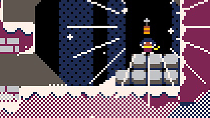 A screenshot of Celeste 2, in which the protagonist has just picked up a grapple hook.