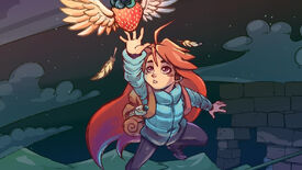 Artwork showing Celeste, from the game Celeste, reaching out to grab a flying strawberry.