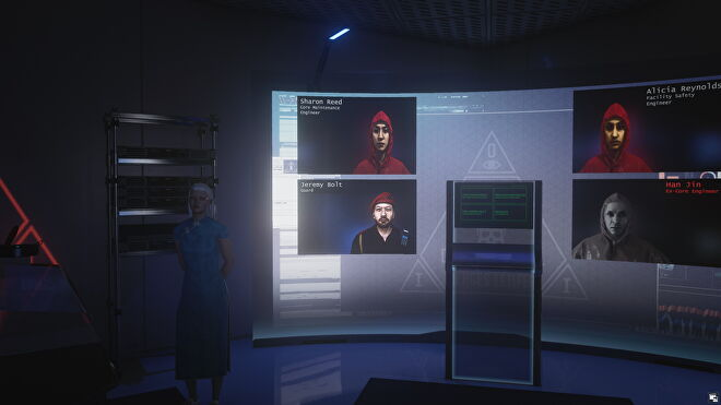 Imogen Royce shows off her screen of fireable employees in Hitman 3's Certainty Principle mission.