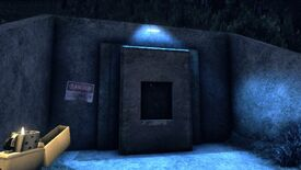 Chasing Static - A bunker door in a forest clearing lit by a blue light while a first-person character holds a lighter