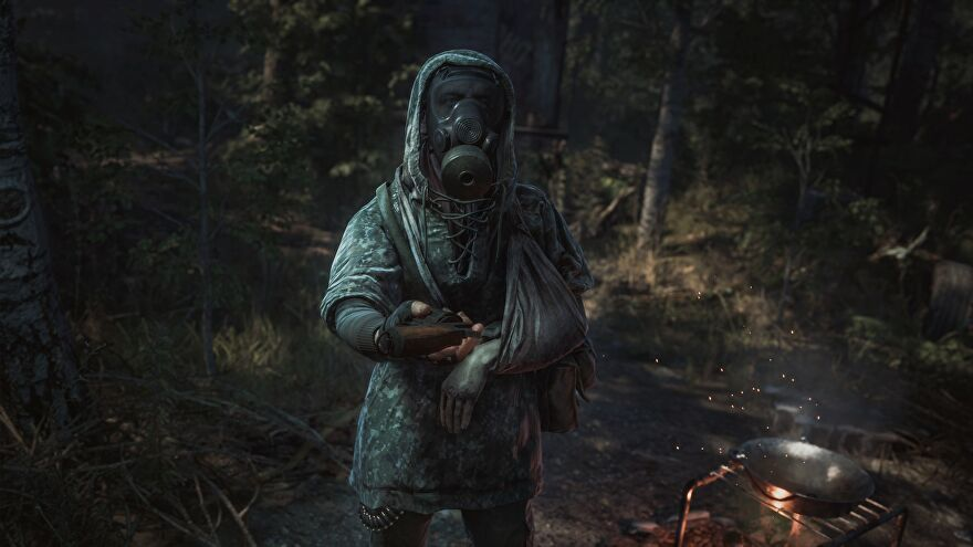 An image from Chernobylite which shows a character in a gas mask hand the player a pistol.