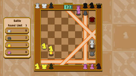 An image of Chessplosion which shows multiple players throwing down chess piece-shaped bombs to catch each other out.