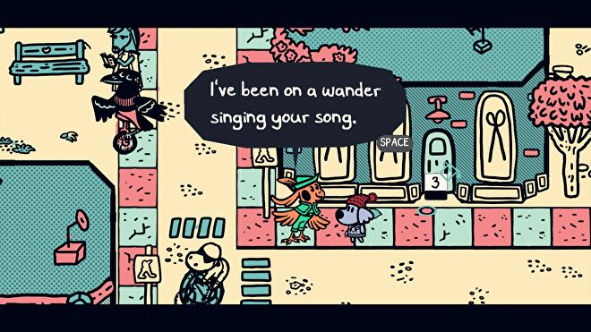 A screenshot of a bard bird from Chicory: A Colorful Tale