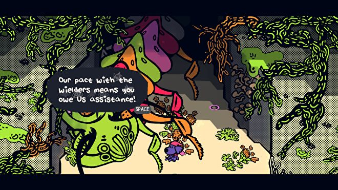 A screenshot of a giant bug queen talking to the protagonist in an underground tunnel from Chicory: A Colorful Tale