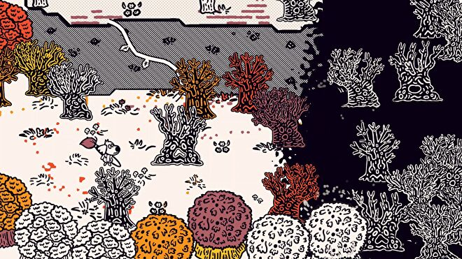 The player looks at a foreboding dark presence at the edge of a forest scene in Chicory