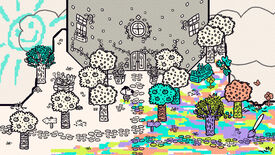 Chicory: A Colorful Tale - The played character stands with a brush in front of a grey and white tower. The ground has been partially colored rainbow and some of the nearby trees have been filled in green.