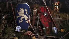 A promotional Chivalry 2 screenshot of two shields in the ground: one belonging to the Agatha Knights, and the other to the Mason Order.