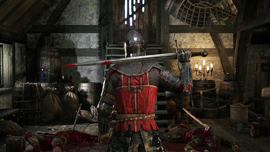 A promotional Chivalry 2 screenshot of a Mason Order player in a room filled with bodies, resting a sword against their shoulders.