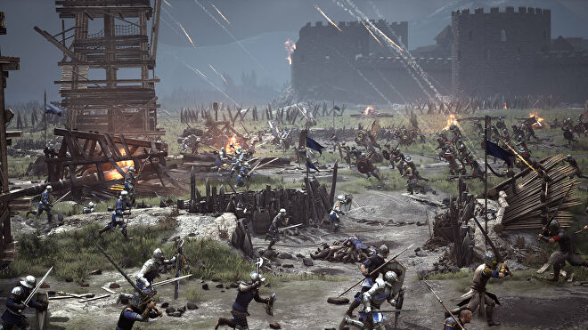 A promotional Chivalry 2 screenshot of a battlefield with flaming arrows plummeting from the sky towards the fighters below.