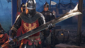 A Chivalry 2 screenshot of a Mason Knight holding a Messer with the Royal Maciejowski skin in the customization menu.