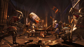 Stools, food, and other improvised tavern brawl weapons fly in a Chivalry 2 screenshot.