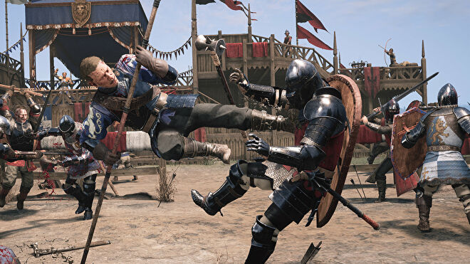 A promotional Chivalry 2 screenshot of an Agatha Knights player pole-vaulting and kicking the chest of a Mason Order player.