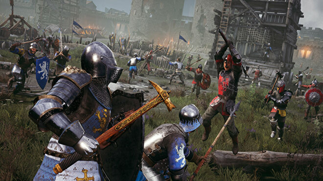 A promotional Chivalry 2 screenshot of two Agatha Knights facing off against a Mason warrior with a two-handed polearm.
