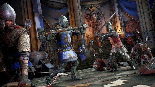 A promotional Chivalry 2 screenshot of a battle between Agatha Knights and the Mason Order in a throne room.