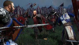 A screenshot of Chivalry 2 showing men with swords on a battlefield, rushing at each other and screaming.
