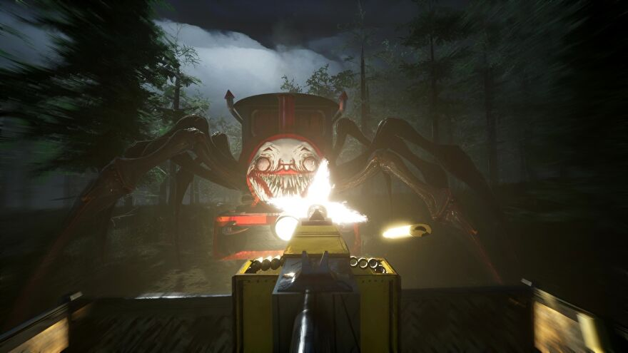 A screenshot of Choo-Choo Charles, showing a mounted turret firing at a train with a demonic face and spider legs.