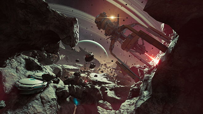 Forsaken flies through asteroids on the Path To The Enclave in Chorus