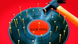 """CircoLoco Records - Monday Dreamin' album artwork: A record labeled """"CLR 001"""" with a bunch of nails through it and a hammer laying on its side on top."""