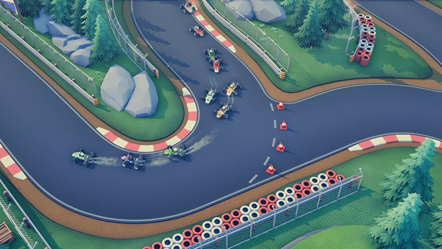 Circuit Superstars - ten open wheel cars race around a corner on a paved track.