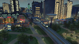 A screenshot of Cities Skylines showing a new train station at night added as part of the Train Stations content creator pack.