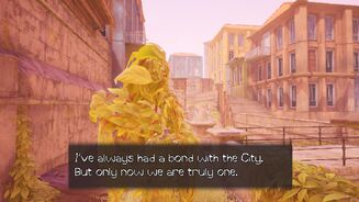 """""""I've always had a bond with the City,"""" says a human-like arrangement of leaves in a City Of Muse screenshot. """"But only now are we truly one."""""""