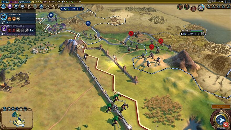 Zombies outside some city defences in Civilization 6.
