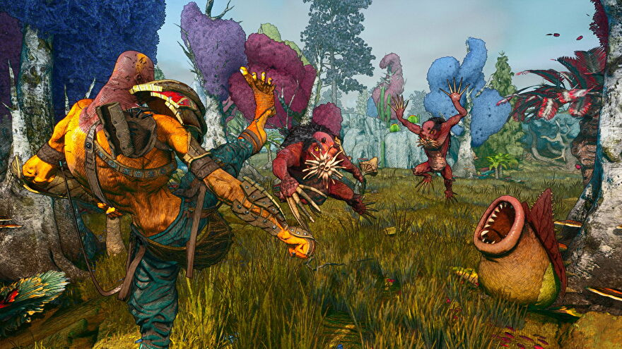 A strange alien creature kicks another strange alien creature in a colourful landscape in Clash: Artifacts Of Chaos