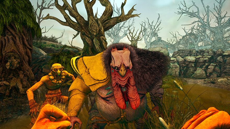 A screenshot of Clash: Artifacts Of Chaos showing a first-person view of fists raised, a brawl about to happen against a big turkey man.