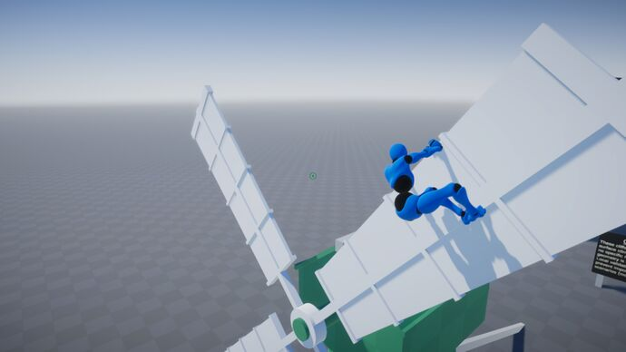 A screenshot of a climbing tech demo showing a blue crash test dummy hanging on to a rotating windmill blade in a greybox world.