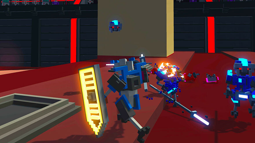 A screenshot of Clone Drone In The Danger Zone showing a voxel, blocky robot holding a shield, in a boxy arena, surrounded by other blocky robots, some of whom are crumbling in battle.