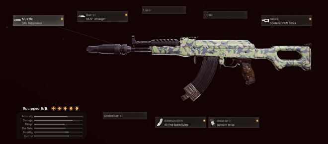 This Cold War AK-47 has the GRU suppressor, 15 inch ultralight barrel, Spetsnaz PKM Stock, Serpent Wrap, and 45 round speed mag