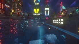 Cloudpunk - A flying car leaves neon tracks behind in the sky as it flies just above the cloud level in the nighttime city full of skyscrapers with neon lights and signs.