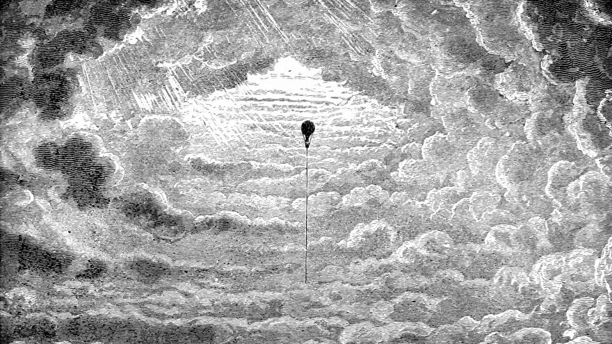 A balloon rises into thick clouds in an illustration from 'The Half Hour Library of Travel, Nature and Science for young readers'.