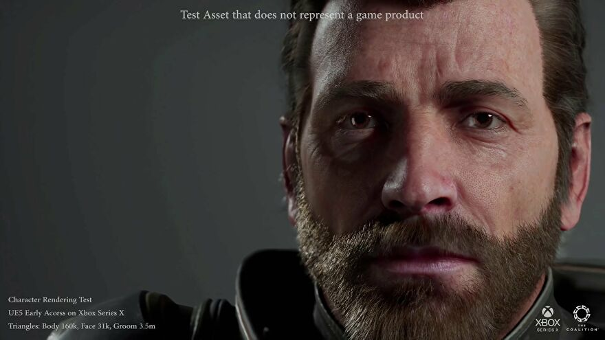 A close-up of a very detailed man from The Coalition's latest Unreal Engine 5 demo