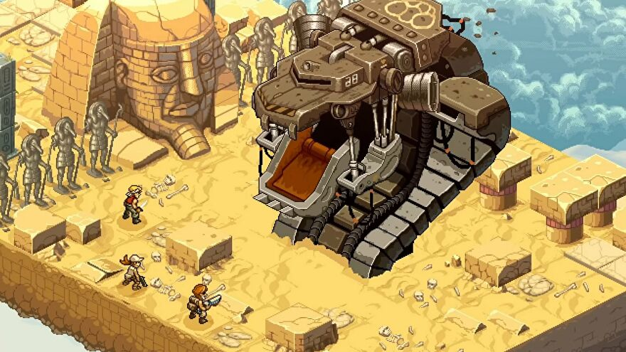 A large robotic snake erupts from the sand in Metal Slug Tactics