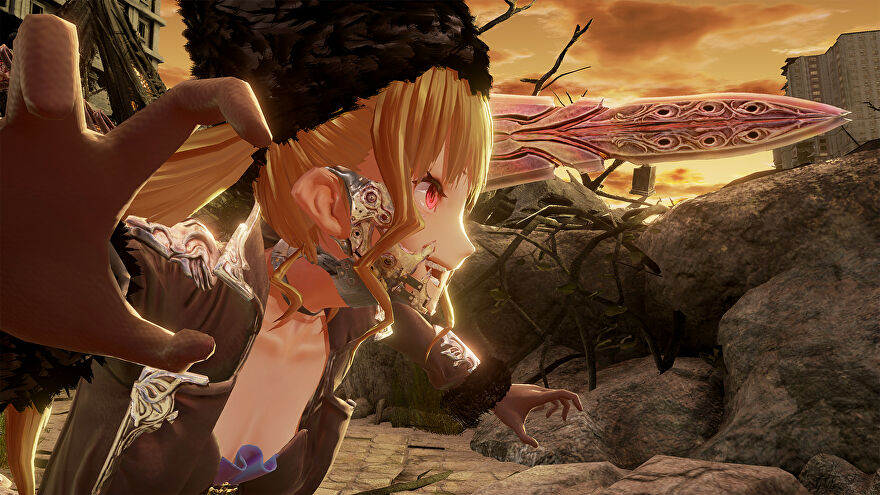 A screenshot of Code Vein in which a cross looking anime girl is lunging in from the left of the screen, in what looks like a dark and gothic outfit and setting.