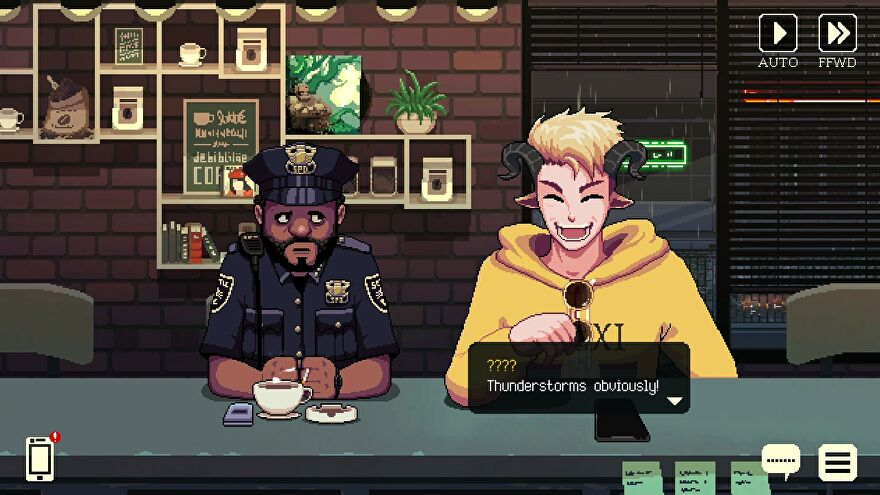 A police officer and a goat man share a late night coffee.