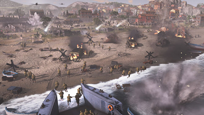 A beach landing assault in Company Of Heroes 3.