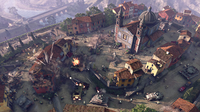A bird's eye view of a town bombardment in Company Of Heroes 3.