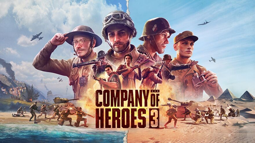 Artwork for Company Of Heroes 3, showing a variety of different soldiers altogether on a beach